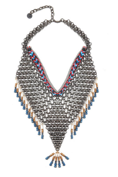 Mesh Necklace With Bead Pendant