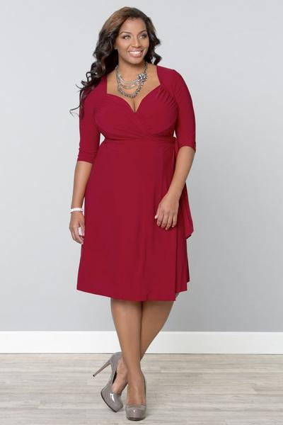 Sweetheart Knit Wrap Dress