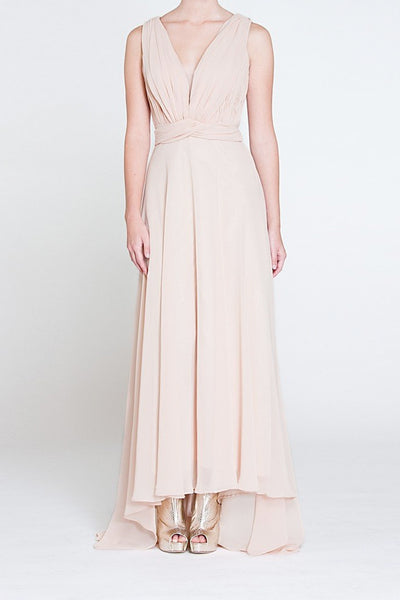 Silk Crepe Tail Gown