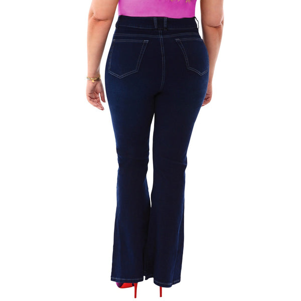 360 Stretch High Rise Flea Market Flare Jeans in Blue Depths