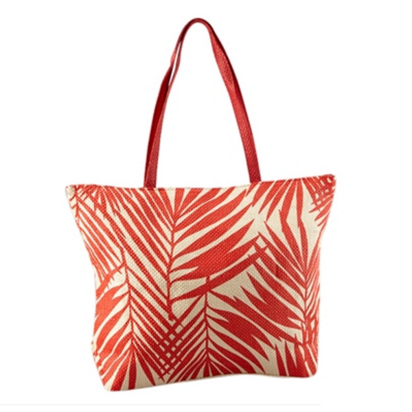 Women's Red Vegan Leather Beach Tote Bag