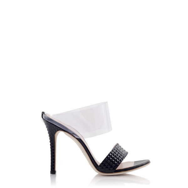 PRINCIPESSA Pyramid Leather and PVC Mule