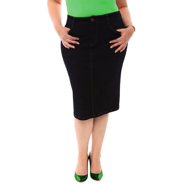 360 Stretch Knee Length Pencil Skirt in Black Onyx