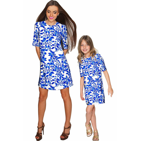 Whimsy Grace White & Blue Print Party Shift Dress - Women