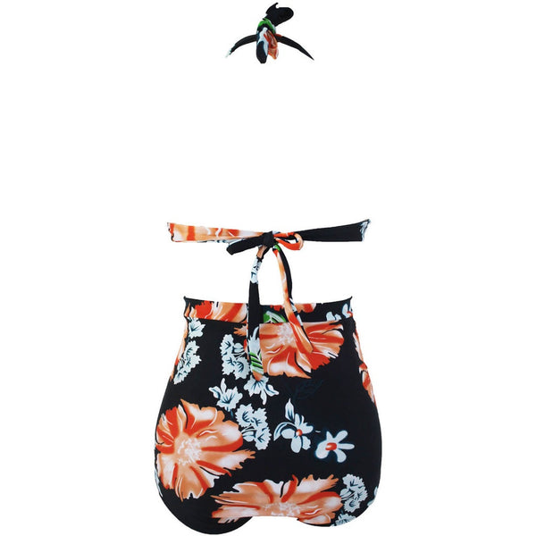 Maverlly  Floral Print Dark Plus Size Bikini Swimsuit Sale