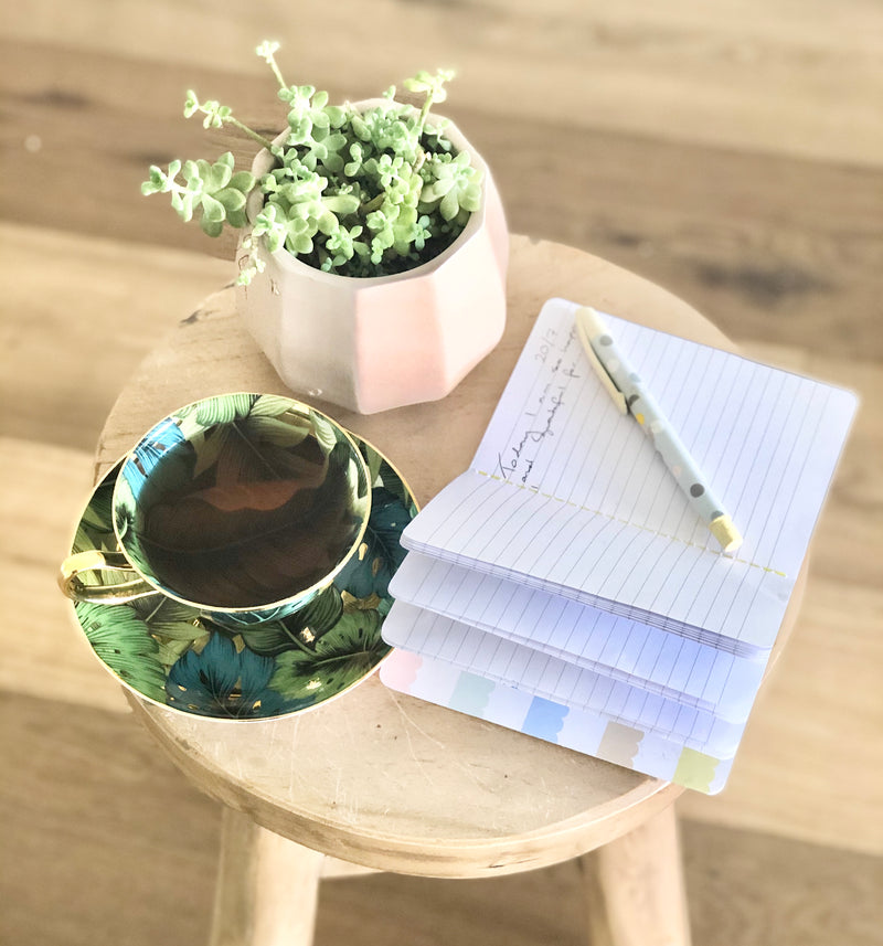 A cup of tea can perfectly compliment your gratitude journal writing practice