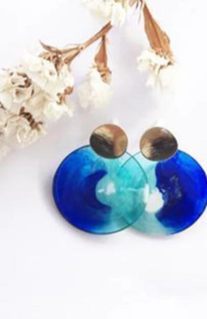 Athena Earrings in blue and green