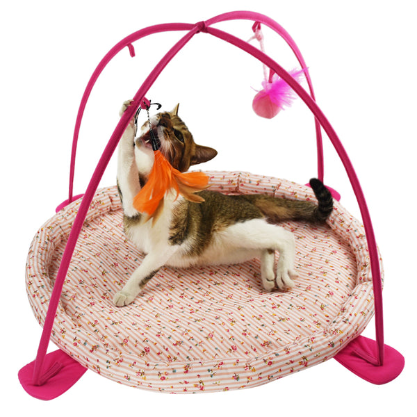 Feline Be Mine Cat Activity Center with Hanging Cat Toys, Outdoor Bed Play Tent for Cats