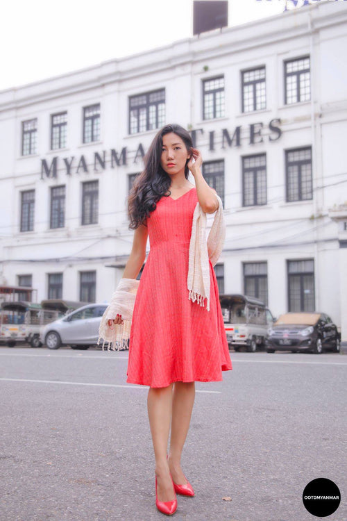 Red Sleeveless Flare Dress