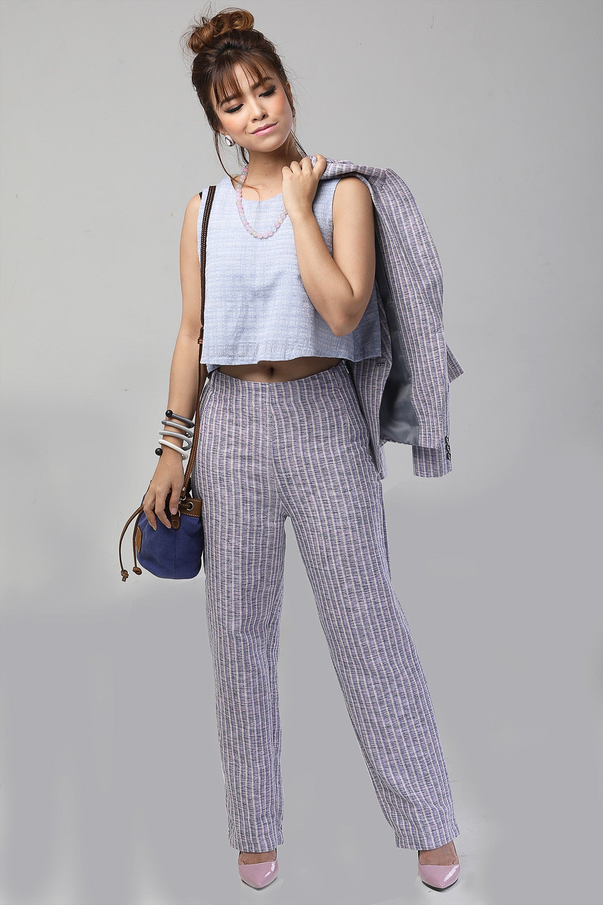 BluePink Stripe High Waist Style Pants