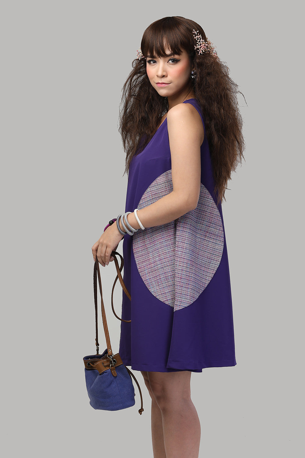 A-Line Dress with Purple Big Circles