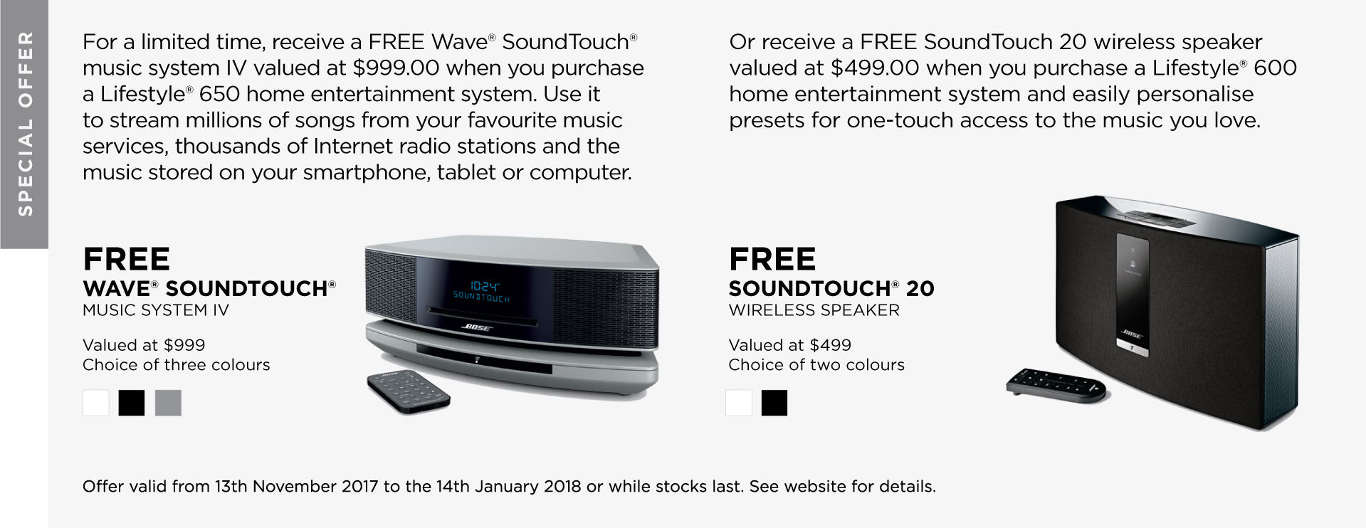 Bose Special Offer FREE Soundwave or Soundtouch