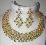 CZ Emerald Ruby Necklace Set