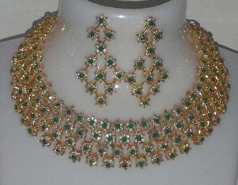 CZ Emerald Necklace Set