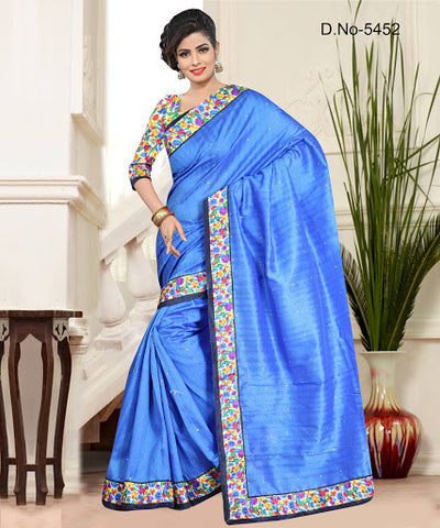 BLISSFUL SKY BLUE BHAGALPURI SAREE
