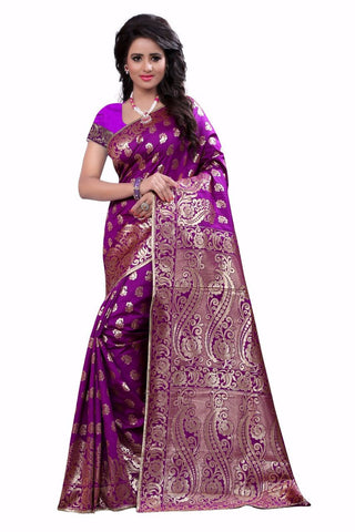 DAZZEL WOMAN'S BANARASI PURPLE SILK SAREE
