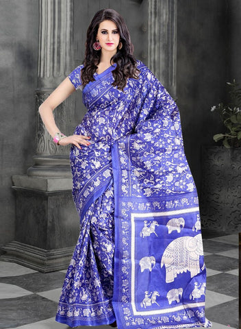 WAMA FASHION BLUE COLOUR WITH OUT BLOUSE SAREE(TZ-PAPAD-HATHI)