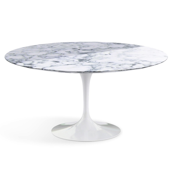 "Knoll - Saarinen Dining Table 60"" Round - Arabescato Coated Marble / White - Lekker Home"