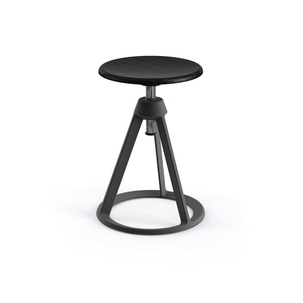 Knoll - Piton™ Adjustable Height Stool - Medium Metallic Grey / Ebonized Ash - Lekker Home