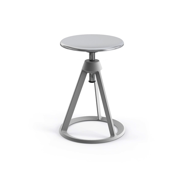 Knoll - Piton™ Adjustable Height Stool - Sterling / Polished Aluminum - Lekker Home