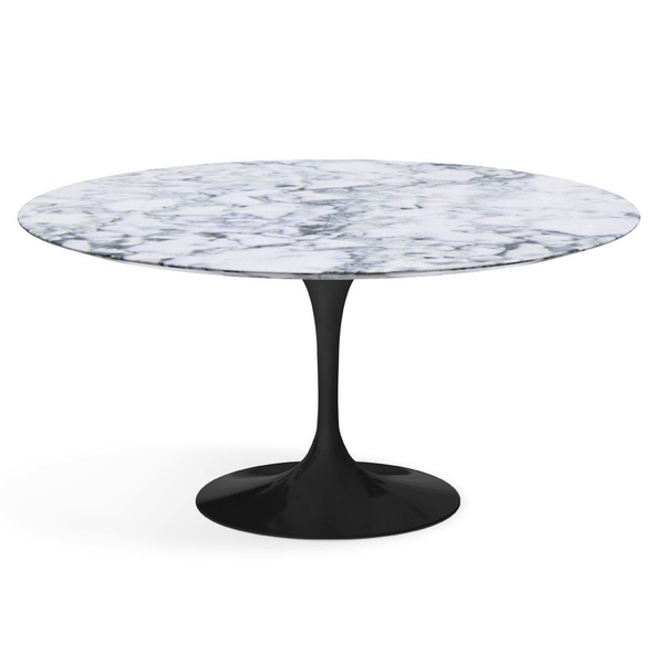 "Knoll - Saarinen Dining Table 60"" Round - Arabescato Satin Marble / Black - Lekker Home"
