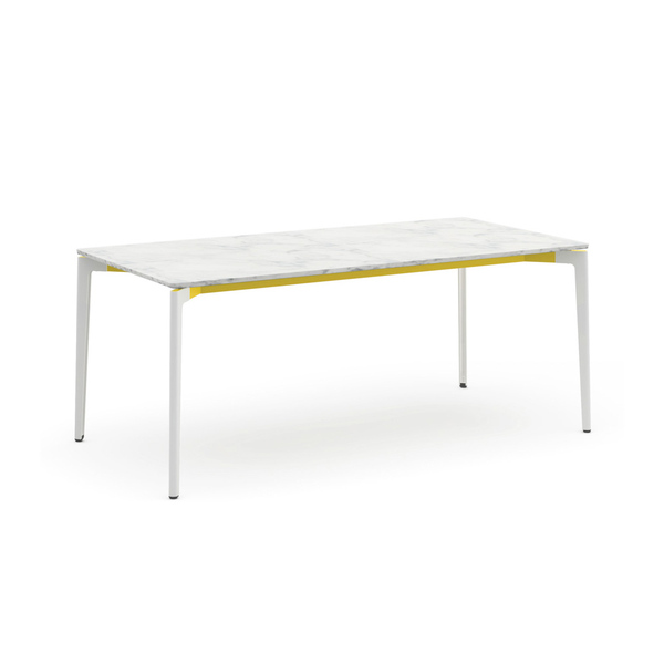"Knoll - Stromborg Table 72"" - Yellow / Natural Cararra Marble - Lekker Home"