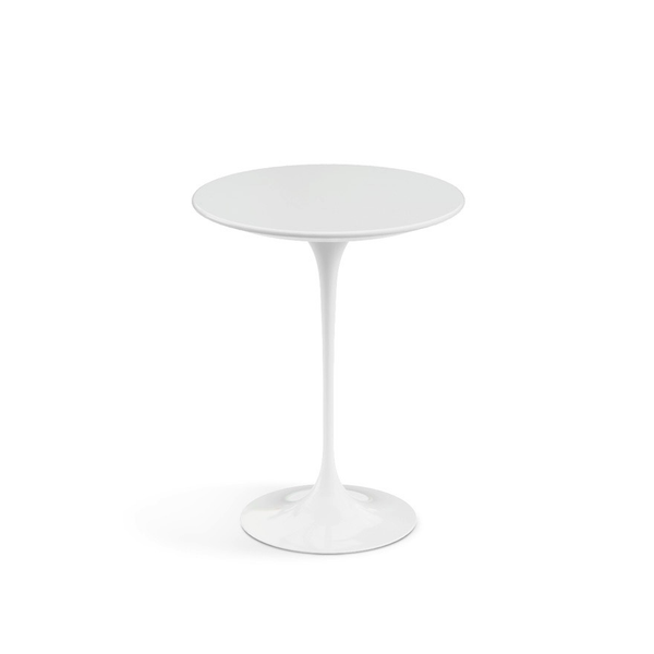 "Knoll - Saarinen Side Table 16"" Round - White Laminate / White - Lekker Home"
