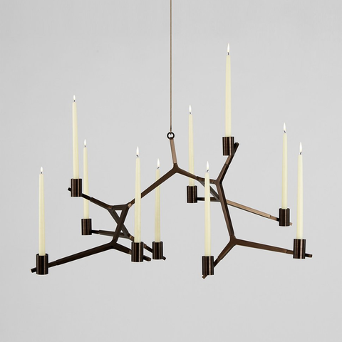 Roll & Hill - Agnes Hanging Candelabra - Bronze / 5 Candles - Lekker Home