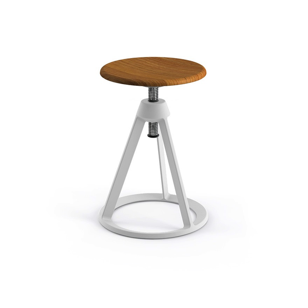 Knoll - Piton™ Adjustable Height Stool - White / Natural Teak - Lekker Home