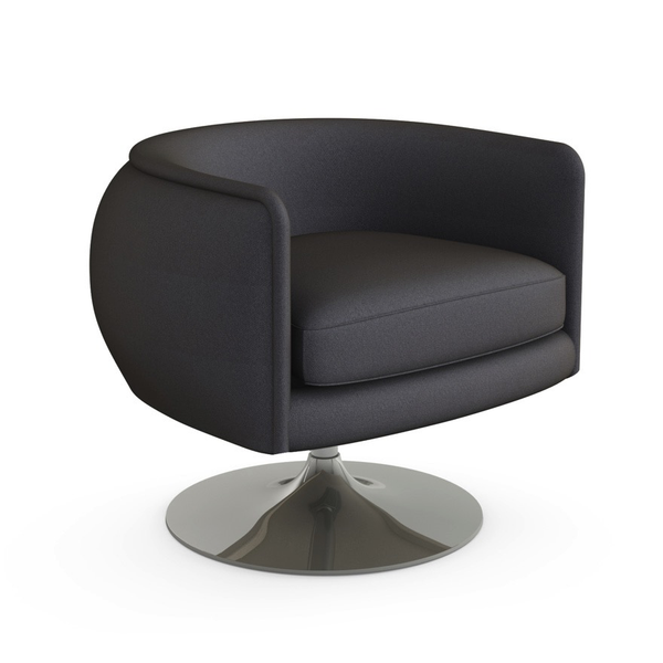 Knoll - D'Urso Swivel Chair - Charcoal Hopsack / One Size - Lekker Home