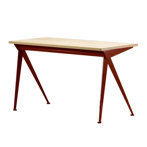 Vitra - Compas Direction Desk - Japanese Red / Natural Oak - Lekker Home