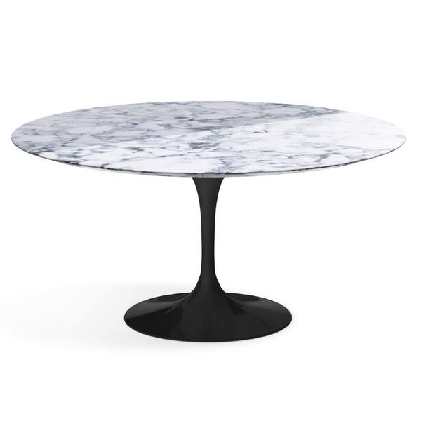 "Knoll - Saarinen Dining Table 60"" Round - Arabescato Coated Marble / Black - Lekker Home"