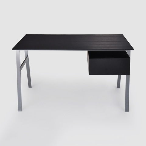 Bensen - Homework 1 Desk Wood Top - Gun Metal Legs - Black Oak / Single Drawer Right - Lekker Home