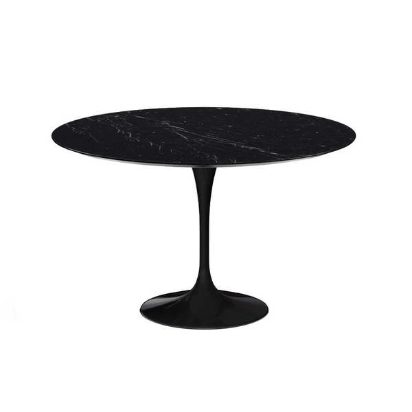 "Knoll - Saarinen Dining Table 47"" Round - Nero Marquina Coated Marble / Black - Lekker Home"