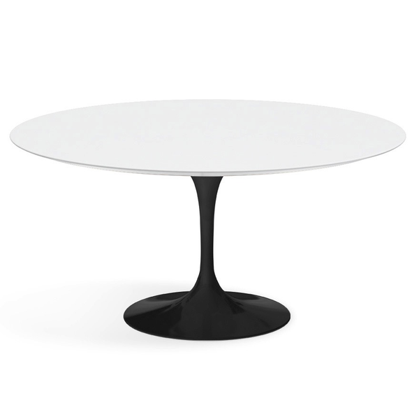 "Knoll - Saarinen Dining Table 60"" Round - White Laminate / Black - Lekker Home"