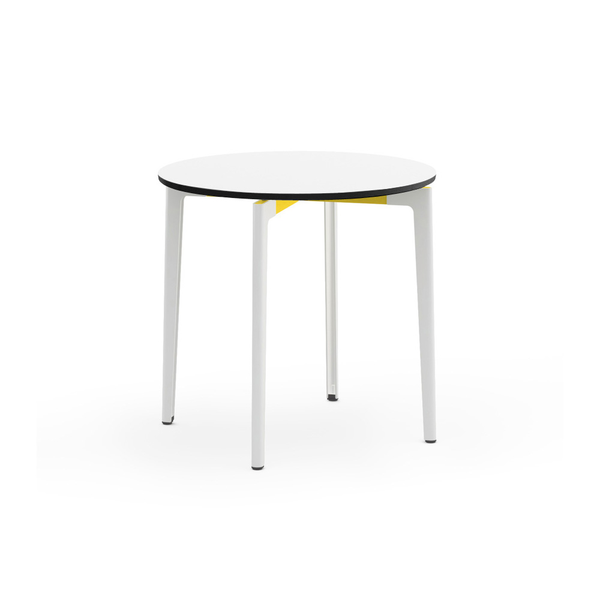 "Knoll - Stromborg Table Round 32"" - Yellow / Bright White Laminate - Lekker Home"
