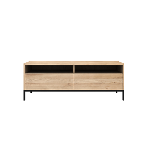 Ethnicraft NV - Ligna TV Cabinet - 2 Drawers / Black Metal - Lekker Home