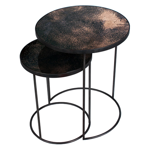 Ethnicraft NV - Aged Mirror Nesting Side Table Set - Lekker Home
