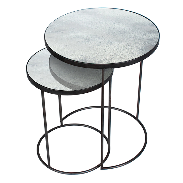 Notre Monde   Aged Mirror Nesting Side Table Set   Clear / Set Of 2 ...