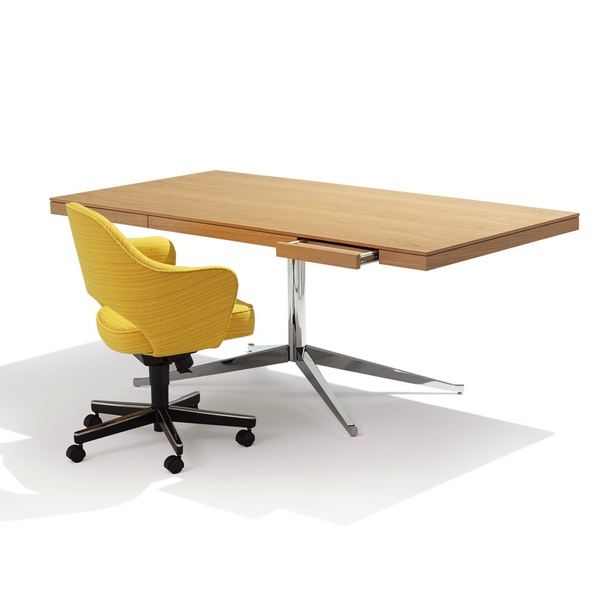 Knoll - Florence Knoll Executive Desk - Polished Chrome / Natural Oak - Lekker Home