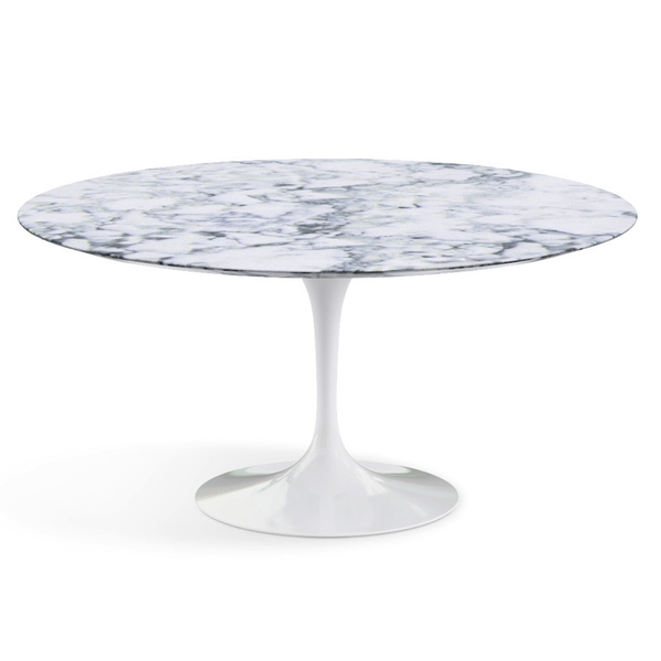 "Knoll - Saarinen Dining Table 60"" Round - Arabescato Satin Marble / White - Lekker Home"
