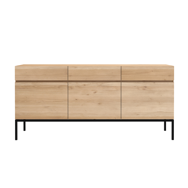 Ethnicraft NV - Ligna Sideboard - 3 Doors / Black Metal - Lekker Home