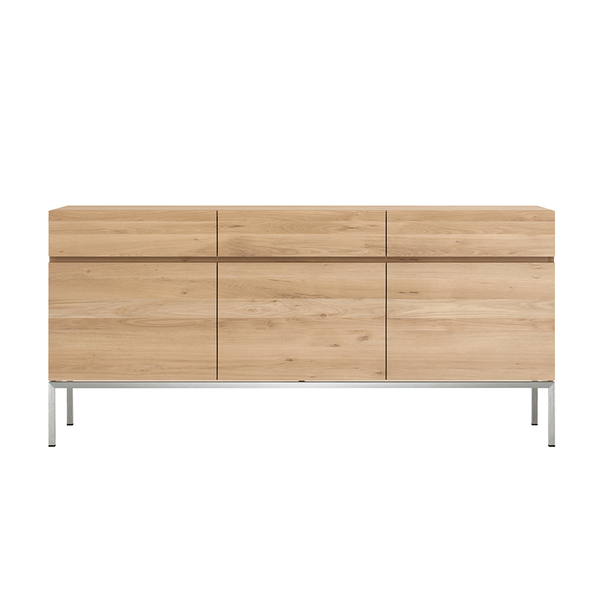 Ethnicraft NV - Ligna Sideboard - 3 Doors / Stainless Steel - Lekker Home