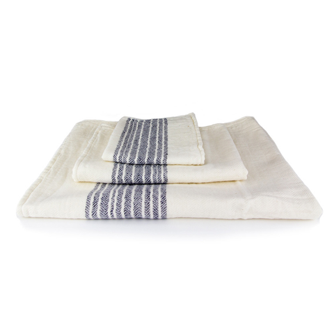 Kontex Towels - Flax Organic Towels - Compact Bath / Blue Ivory - Lekker Home