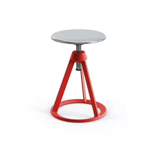 Knoll - Piton™ Adjustable Height Stool - Red Coral / Polished Aluminum - Lekker Home