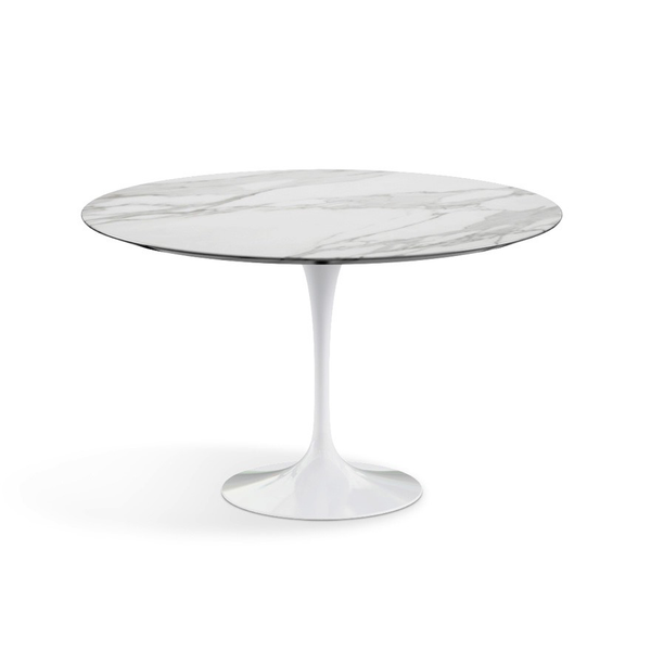"Knoll - Saarinen Dining Table 47"" Round - Carrara Satin Marble / White - Lekker Home"