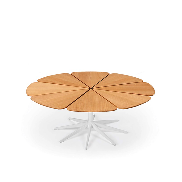 Knoll - Petal® Coffee Table - White / Teak Petals - Lekker Home