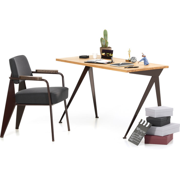 Vitra - Compas Direction Desk - Deep Black / Natural Oak - Lekker Home