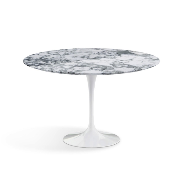 "Knoll - Saarinen Dining Table 47"" Round - Arabescato Coated Marble / White - Lekker Home"