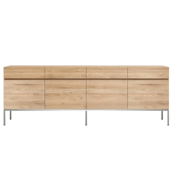 Ethnicraft NV - Ligna Sideboard - 4 Doors / Stainless Steel - Lekker Home